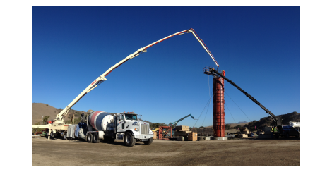 Concrete boom filling a column